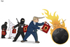 Cartoon: Spreading Hate (small) by Tjeerd Royaards tagged orlando,trump,isis,terror,attack,hate,world,gasoline,fire