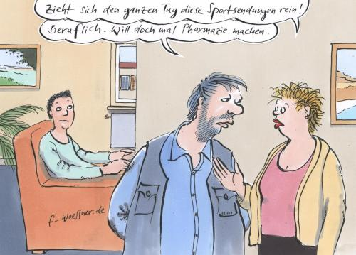 Cartoon: sportsendung (medium) by woessner tagged sport,doping,pharmazie,medizin,jugend,ausbildung,uni,tv,fernsehen,konsum,familie,eltern,sohn,besorgnis