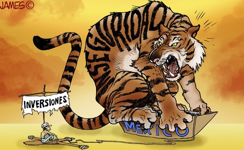 Cartoon: Naufragos (medium) by JAMEScartoons tagged tigre,bote,naufrago,oceano,corrupcion,inversionista,james,cartonista,jaime,mercado