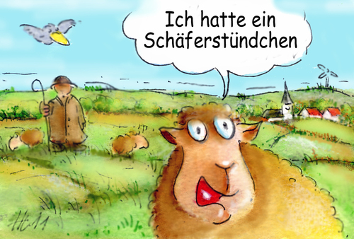 Cartoon: Schäferstündchen (medium) by Henrich tagged schafe