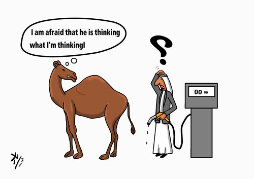 Cartoon: no comment (medium) by yaserabohamed tagged camel,station,petrol,oil