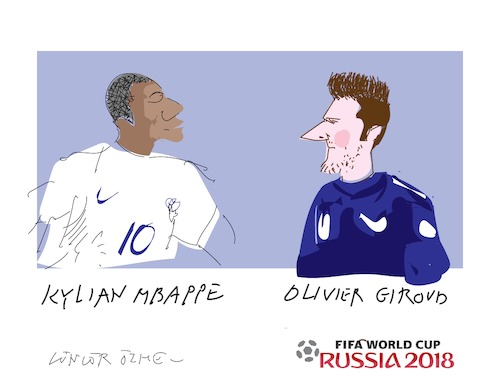 Cartoon: O.Giraud and K.Mbappe (medium) by gungor tagged world,cup,2018
