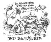 Cartoon: bad bankräuber (small) by JP tagged bad,bank,bankräuber,bankraub,urlaub,laub,verbrechen,euro,minus,plus,mathe,madde,matte,krise
