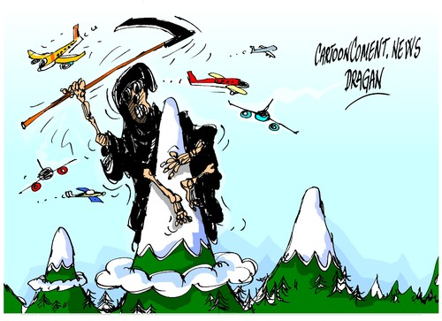 Cartoon: Alpes-accidente (medium) by Dragan tagged alpes,accidente,airbus,a320,germanwings,cartoon