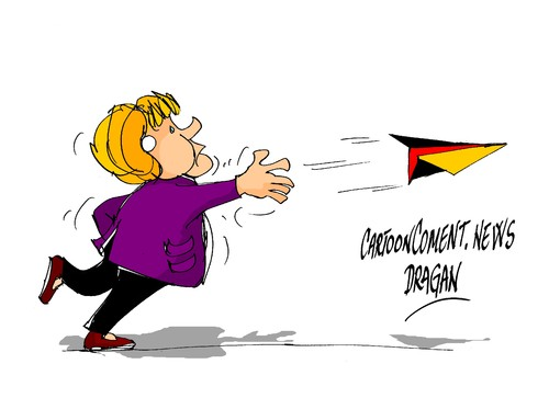 Cartoon: Angela Merkel-Tornado (medium) by Dragan tagged francia,alemania,merkel,angela,tornado,siria,politics,cartoon