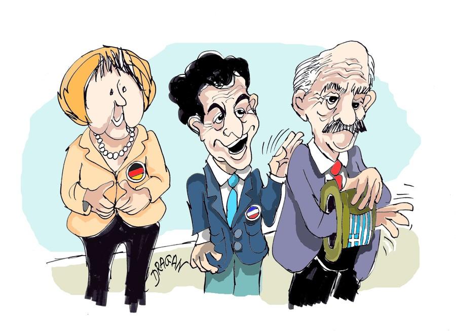 Cartoon: Consejo Europeo (large) by Dragan tagged consejo,europeo,angela,merkel,nicolas,sarkozy,george,papandreu,grecia,politics,cartoon