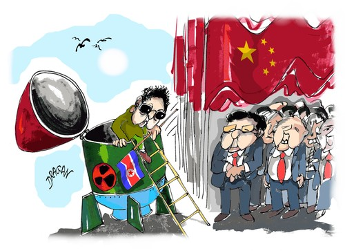 Cartoon: Kim Jong-Il (medium) by Dragan tagged kim,jong,il,china,corea,del,norte,pekin,politics,cartoon
