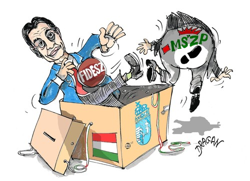 Cartoon: Orban Viktor (medium) by Dragan tagged hungria,orban,viktor,fidesz,elecciones,budapest,politics,cartoon