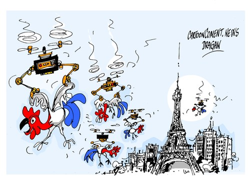 Cartoon: Paris- drones (medium) by Dragan tagged francia,paris,drones,cartoon