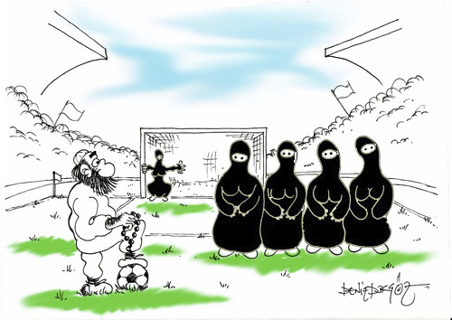 Cartoon: football from middleeast (medium) by denizdokgoz tagged black,chador,football,futbol