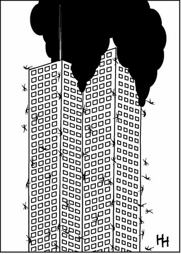 Cartoon: its raining men (medium) by haarloheim tagged 911,september11,jumpers,tower,twin