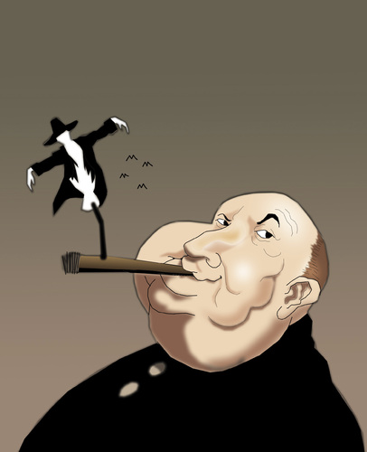 Cartoon: Alfred Hitchcock.. (medium) by berk-olgun tagged alfred,hitchcock