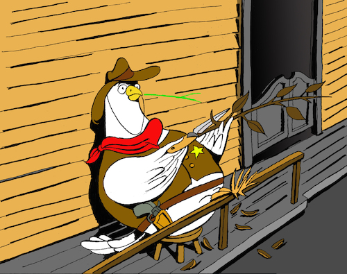 Cartoon: Sheriff Pigeon... (medium) by berk-olgun tagged sheriff,pigeon