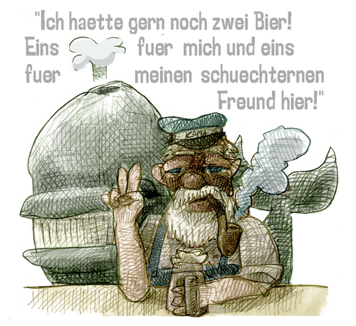 Cartoon: 2 Bier (medium) by jenapaul tagged humor,seemann,wal,fischer,satire,meer