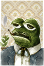 Cartoon: mr frog (small) by jenapaul tagged frog,flies,cigars