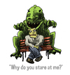 Cartoon: why do you stare at me? (small) by jenapaul tagged gozilla,monsters,fun,staring