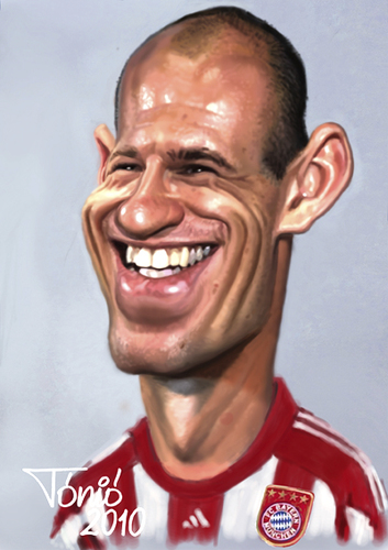 Cartoon: Arjen Robben (medium) by Tonio tagged karikatur,nationalmannschaft,münchen,bayern,fcb,wm,football,soccer,holland,dutch,fussball