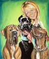 Cartoon: Alena and her dogs (small) by Avel tagged caricature