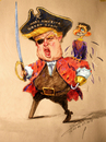 Cartoon: Trump-the short fingers Pirate (small) by yllifinearts tagged donald,teump,paul,ryan,gop,election,presidents
