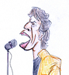 Cartoon: Mick Jagger (small) by Liam tagged mick jagger rock musik rolling stones keith richards music singing star idol bühne mikro