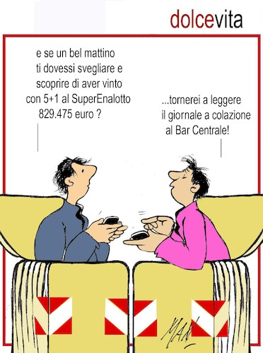 Cartoon: Dolce vita (medium) by Enzo Maneglia Man tagged superenalotto,vignette,umorismo,cassonettari,man,maneglia,fighillearte