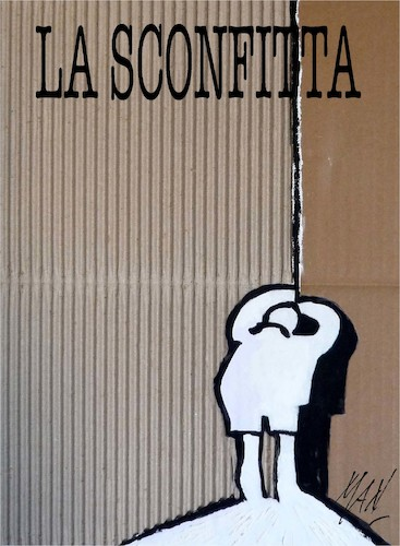 Cartoon: LA SCONFITTA (medium) by Enzo Maneglia Man tagged tavola,grafica,vignetta,illustrazione,situazione,man,maneglia