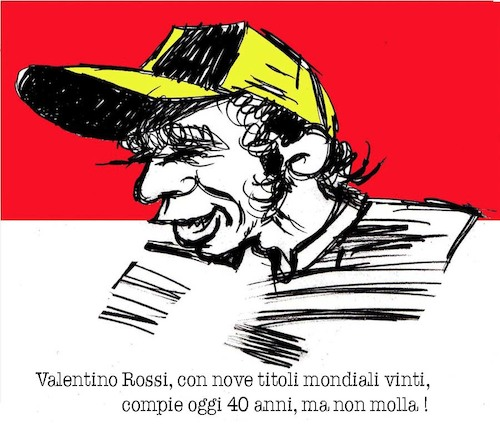 Cartoon: Valentino Rossi a 40 (medium) by Enzo Maneglia Man tagged personaggi,sportivi,ritratti,caricature,mgp,fighillarte,maneglia,enzo