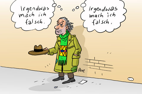 Cartoon: Der Bettler (medium) by rene tagged bettler,spende,hut