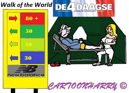 Cartoon: 4 Daagse (medium) by cartoonharry tagged toonpool,dutch,cartoonharry,cartoonist,cartoon,nederland,holland,4daagse,vierdaagse,nijmegen,walkoftheworld,elder,80plus