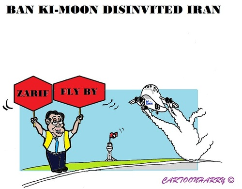 Cartoon: Ban Ki-Moon (medium) by cartoonharry tagged disinvite,syria,iran,terrorists,peacetalks,geneva,kimoon,un