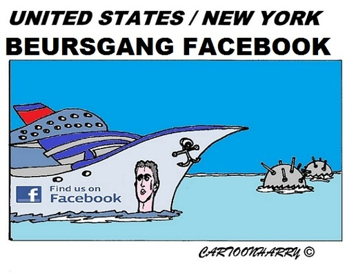 Cartoon: Beursgang Facebook (medium) by cartoonharry tagged beurs,aex,mijnenveld,facebook,cartoon,cartoonist,cartoonharry,dutch,toonpool