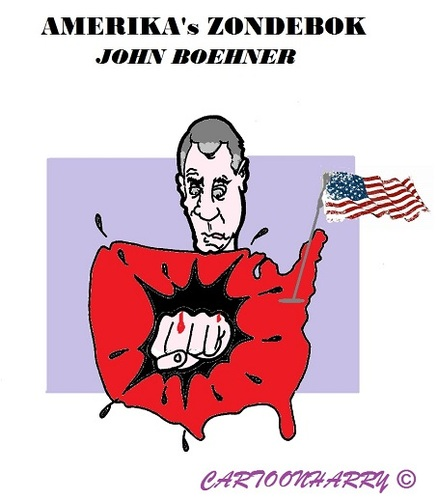Cartoon: Boehner (medium) by cartoonharry tagged boehner,zondebok,usa