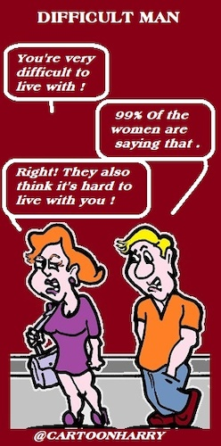 Cartoon: Difficult Husband (medium) by cartoonharry tagged difficult,cartoonharry