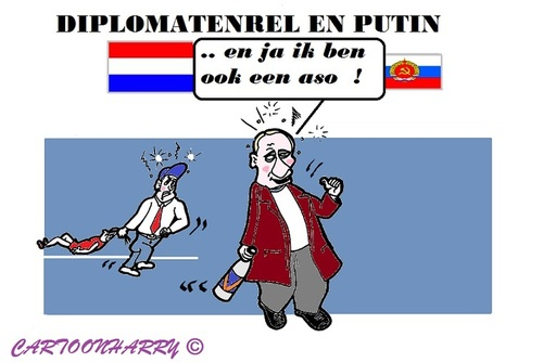 Cartoon: Diplomatenrel (medium) by cartoonharry tagged diplomaat,denhaag,nederland,rusland,putin