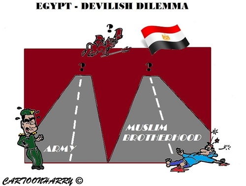 Cartoon: Egypt (medium) by cartoonharry tagged egypt,dilemma,devil,mbh,army,toonpool