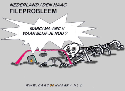 Cartoon: File Probleem (medium) by cartoonharry tagged wegennet,auto,file,geraamte,cartoonharry