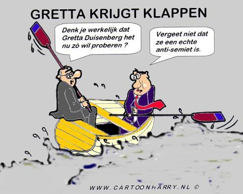 Cartoon: Gretta Krijgt Klappen (medium) by cartoonharry tagged gretta,duisenberg,cartoon,israel,hamas,gaza,cartoonharry