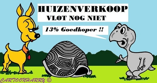 Cartoon: Huizenverkoop (medium) by cartoonharry tagged huis,verkoop,huizenverkoop,stagnatie,hond,schildpad,cartoon,cartoonist,cartoonharry,dutch,holland,toonpool