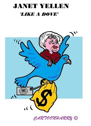 Cartoon: Janet Yellen (medium) by cartoonharry tagged usa,fed,yellen,dove,boss