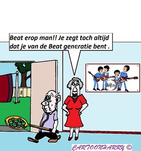 Cartoon: Kom op (medium) by cartoonharry tagged orders,oma,opa,tapijt,slaan,beatles,generatie,cartoon,cartoonist,cartoonharry,dutch,toonpool