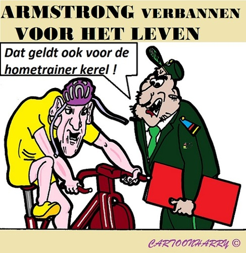 Cartoon: Lance Armstrong (medium) by cartoonharry tagged llance,armstrong,usada,uci,wielrennen,verbannen,cartoon,cartoonharry,dutch,toonpool