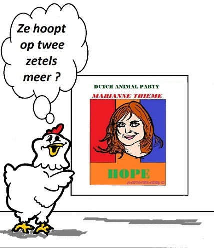 Cartoon: Marianne Thieme (medium) by cartoonharry tagged mariannethieme,nederland,politiek,zetels,parlement,cartoon,chicken,dieren,pvdd,animalparty,cartoonist,cartoonharry,dutch,toonpool