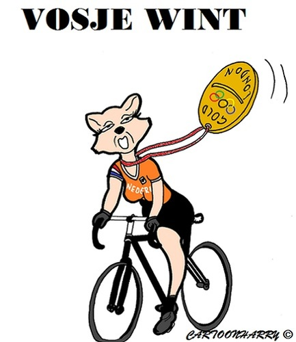 Cartoon: Marianne Vos (medium) by cartoonharry tagged goud,vos,marianne,olympics,london,nederland,holland,cartoon,cartoonist,cartoonharry,dutch,toonpool