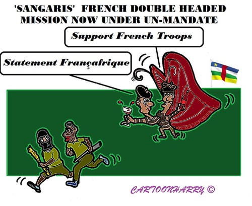 Cartoon: Sangaris (medium) by cartoonharry tagged centralafrica,france,un,military,mission