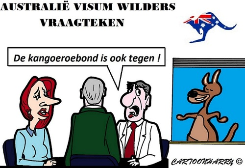 Cartoon: Visum Wilders (medium) by cartoonharry tagged wilders,gillard,visum,australie,vraagteken,kangoeroe,cartoon,cartoonist,cartoonharry,dutch,toonpool