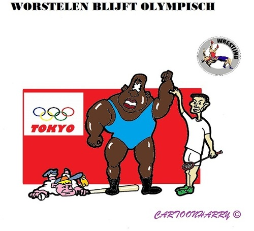 Cartoon: Worstelen (medium) by cartoonharry tagged olympisch,worstelen,squash,honkbal,2020,tokyo,toonpool