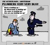 Cartoon: A Busy Plumber (small) by cartoonharry tagged plumber,wheelchair,police,water,sos,busy,cartoon,cartoonharry,cartoonist,dutch,holland,toonpool