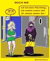 Cartoon: Noch Nie (small) by cartoonharry tagged deutch,moslima,nachbarin