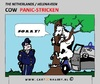 Cartoon: Panic (small) by cartoonharry tagged panic,cow,farmer,policecar,cartoon,cartoonharry,cartoonist,tree,dutch,toonpool