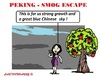 Cartoon: Smog Escape (small) by cartoonharry tagged china,beijin,smog,escape,chinesegirl,tree,air,blue,sky,cartoons,cartoonists,cartoonharry,dutch,toonpool